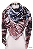 ScarvesMe Women's Artistic Skeych Flower Print Square Scarf with Fringe Trim