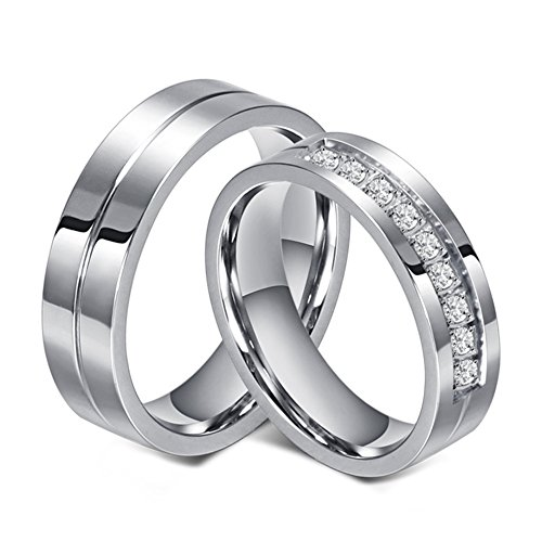 Chryssa 6mm Titanium Steel Carbide Ring with Brilliant CZ Diamonds Mens Wedding Band 5 to 12(SZZ-08) (Size 10) ()