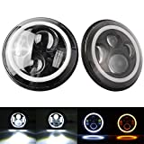 "1 pair 7 in. Round LED Headlights Halo Ring Angel Eyes Switchback 7"" Amber White Turn Signal Lights For Jeep Wrangler JK TJ CJ LJ Tj Fj"
