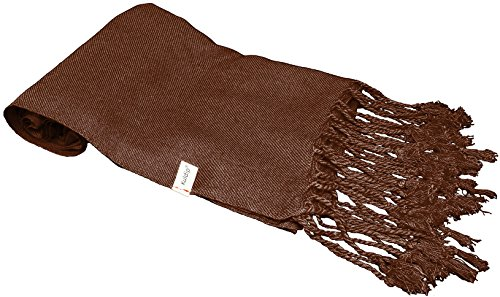 Kuldip Unisex Factory Seconds Pashmina Scarf Shawl Wrap Throw Dark Chocolate Brown Scarf Dark Chocolate