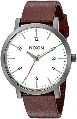 Nixon Men s Rollo 38 Quartz Stainless Steel and Leather Watch, Color Brown Model A9842368