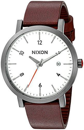 Nixon Men's 'Rollo 38' Quartz Stainless Steel and Leather Watch, Color:Brown (Model: A9842368)