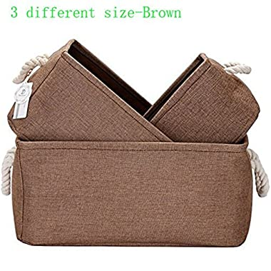 Foldable Multi-sized Square New 100% Natural Linen & Cotton Fabric Storage Bins Storage Baskets Organizers - Set of 3 (Brown)