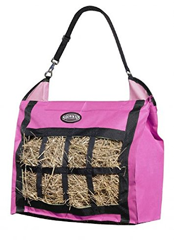 Showman Nylon Slow Feed Hay Tote Bag Heavy Duty and Durable Easy To Fill and Carry (Hot Pink) (Nylon Hay Bag Heavy Duty)