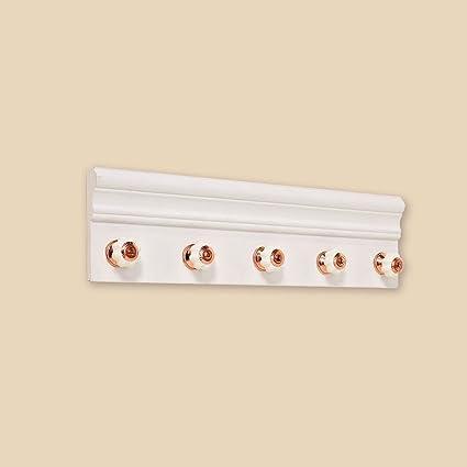5 perchero de madera blanco de cobre 45 cm de largo Shabby ...