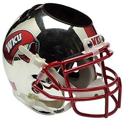 Western Kentucky Hilltoppers Miniature Football Helmet Desk Caddy - Chrome - Licensed NCAA Memorabilia - Western Kentucky Hilltoppers Collectibles