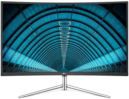 AOC C32V1Q 31.5″ Full HD 1920×1080 Monitor, Curved VA Panel, 4ms 75Hz, Frameless, HDMI/DisplayPort/VGA, Flickerfree, Low Blue Mode, VESA, Black