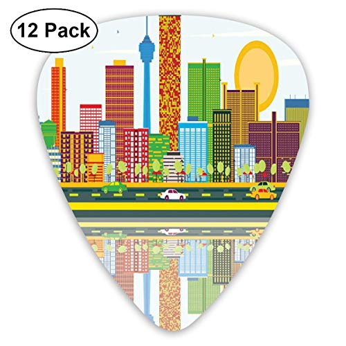Guitar Picks 12-Pack,Cartoonish Skyline Of Nevada City In The Afternoon Modern Buildings Architecture