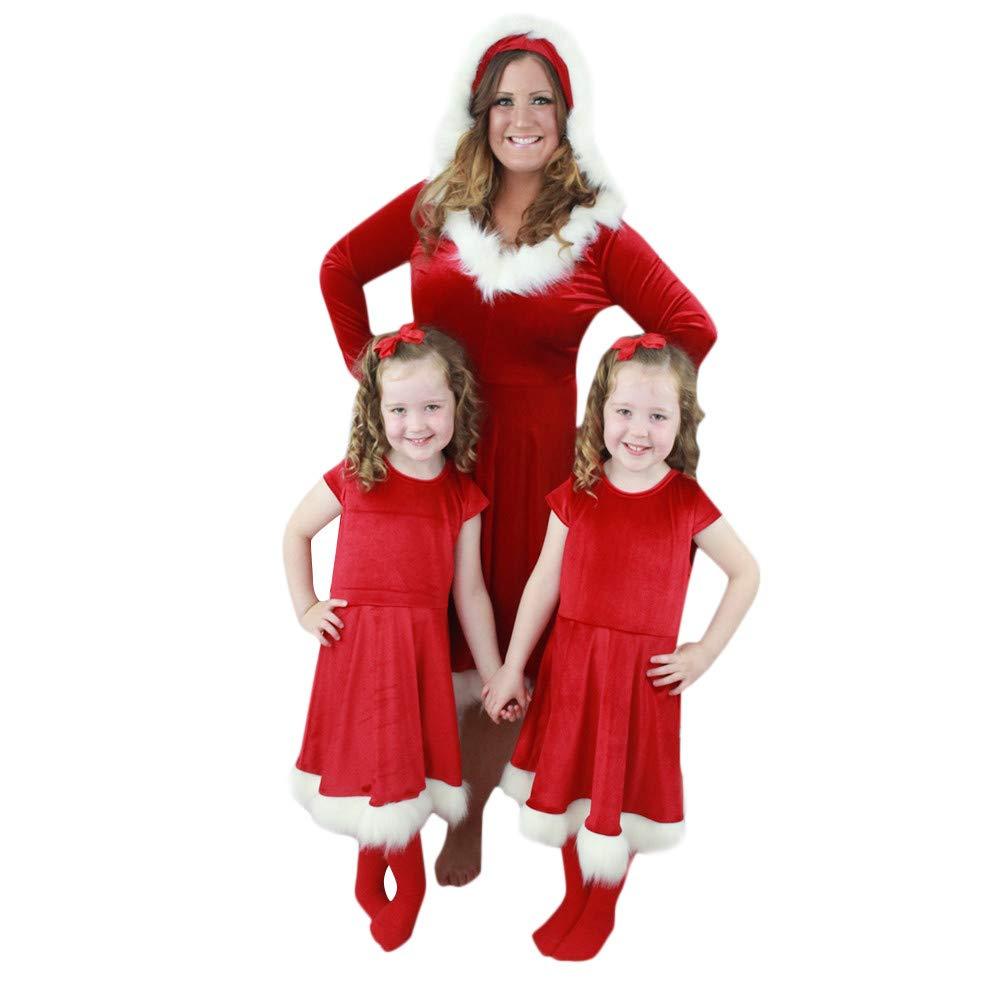 Franterd クリスマス ドレス お母さんと私 家族 お揃いのドレス 親子用 クリスマス ホットレッド ベルベットの洋服セット B07K8FH9KV Medium Mom Mom Medium