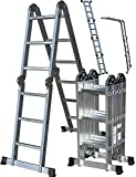 OxGord Aluminum Folding Scaffold Work Ladder 11.5 ft Multi-Fold Step Light Weight Multi-Purpose extension - MAX WEIGHT 300 LBS