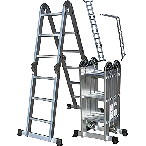 OxGord Aluminum Folding Scaffold Work Ladder 11.5 Ft Multi Fold Step Light  Weight Multi Purpose Extension   MAX WEIGHT 300 LBS