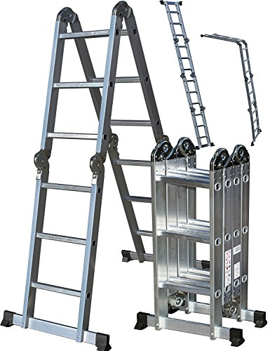 OxGord Aluminum Folding Scaffold Work Ladder 11.5 ft Multi-Fold Step Light Weight Multi-Purpose extension - MAX WEIGHT 300 LBS (Twins Step Storage)