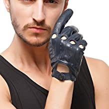 Nappaglo Men's Driving Leather Gloves Italian Lambskin Full-finger Motorcycle Cycling Riding Unlined Gloves (Touchscreen or Non-Touchscreen)