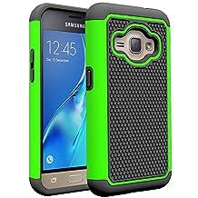 J1 2016 Case, Galaxy Amp 2 Case, Galaxy Express 3 Case, NOKEA [Shock Absorption] Hybrid Armor Defender Protective Case Cover for Samsung Galaxy J1 2016 / Amp 2 / Express 3 (Green)