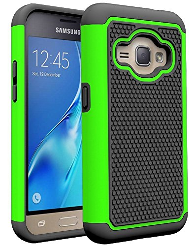 J1 2016 Case, Galaxy Amp 2 Case, Galaxy Express 3 Case, NOKEA [Shock Absorption] Hybrid Armor Defender Protective Case Cover for Samsung Galaxy J1 2016 / Amp 2 / Express 3 (Green)