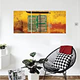 Liguo88 Custom canvas Shutters Decor Collection Wooden Window and Old Vintage Orange House in Saint Louis Senegal Classic Home Bedroom Living Room Wall Hanging Mustard Green