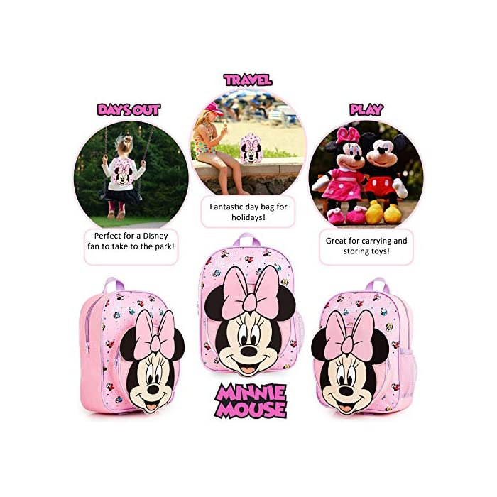 51zQR%2BY4G8L MOCHILA ESCOLAR DE MINNIE --- ¡El mejor regalo para todos los fans de las películas de Disney! Esta bonita mochila de color rosa en diseno 3D es perfecta tanto para ir al colegio como para ir de vacaciones. Presenta a tu personaje favorito de Disney Minnie Mouse y su famoso lazo. Tiene espacio suficiente para libros, ropa o juguetes y viene con correas acolchadas para mayor comodidad. MERCHANDISING OFICIAL DE DISNEY --- Nuestras mochilas escolares de Disney tienen licencia oficial, por lo que no se preocupe, cuando compra a través de nosotros está adquiriendo un producto de calidad. GRAN CAPACIDAD --- Esta mochila clásica de Disney tiene espacio suficiente para guardar material escolar, juguetes, el almuerzo o un cambio de ropa. Cuenta con un compartimento principal con cremallera, un bolsillo lateral de malla para bebidas, y un pequeño bolso en la parte delantera que pueden usar a modo de estuche escolar.