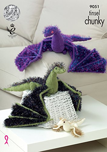 King Cole Tinsel Chunky & Pricewise DK Knitting Pattern Adult or Baby Dragons (9051)
