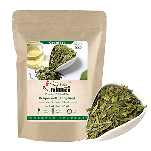 FullChea - Longjing Tea - Dragonwell Tea - Chinese Green Tea Loose Leaf - First Grade - Organic Lung Ching Dragon Well 8oz / - Tea Well Ching Green Dragon
