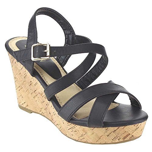 Beston Fashion Focus Prada-31 Womens Strappy Criss Cross Zeppa Piattaforma Zeppa Sandali Neri