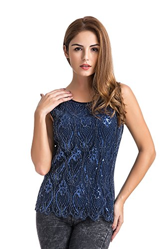 U.mslady 2018 Women's Fashion Sequin Tank Top Loose Shimmer Flower Glam Sparkle Vest Blue XL