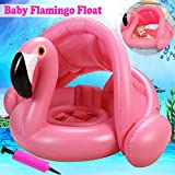 Flamingo Baby Swimming Ring with Canopy-Baby Swimming Pool Float Sunshade for Infant Kids Boys Girls Toddlers Age 3 Months-4 Years Old 20Lbs-66Lbs Summer Outdoor Beach Water Bath Toys