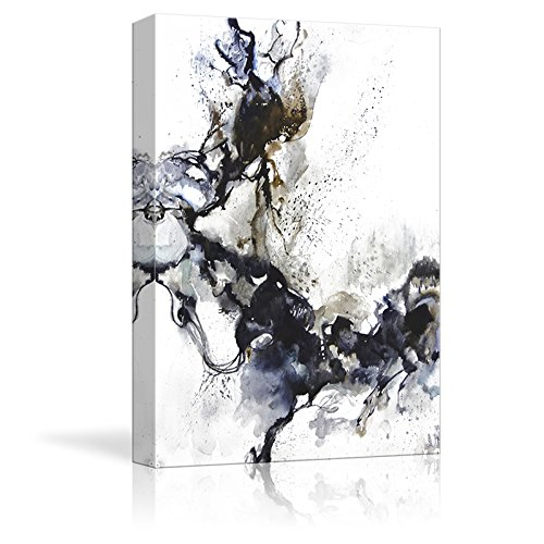 Abstract Black Ink on White Background Watercolor Painting Style Art Reproduction ation
