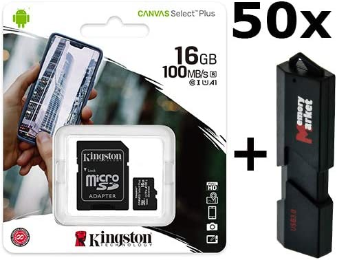 50 Pack Kingston Canvas Select 16GB MicroSD HC Class 10 Memory Card UHS-I TF 80MB//s SDCS2//16GB LOT of 50 with Dual Slot USB 3.0 MemoryMarket MicroSD /& SD Memory Card Reader