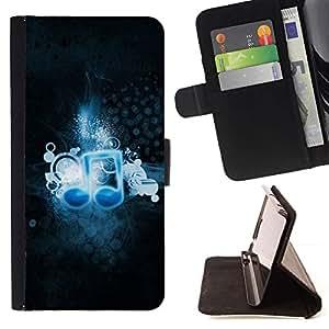 Momo Phone Case / Flip Funda de Cuero Case Cover - Música del amor de Nota Azul Art Wallpaper Negro - HTC One M7