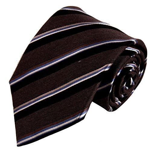 (Bronze Designer Ties Men Chocolate Saddle Brown Stripes Woven Silk Tie Set excellent necktie Set FAA1151)