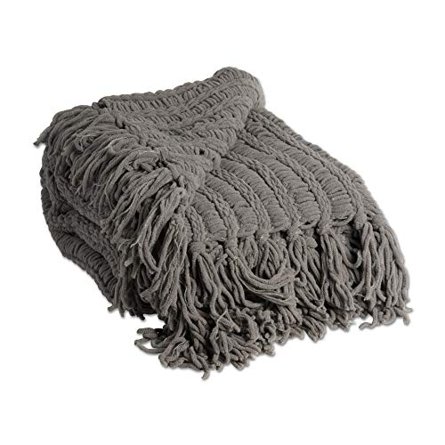 J&M Home Fashions 2173A Luxury Chenille Woven Knitted Throw Blanket with Fringe, Reversible, Soft, Warm for Bed, Chair, Couch, Camping, Beach, or Travel, 50x60, - Woven Reversible Throw