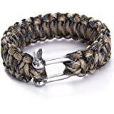 WINGONEER Paracord 550 Survival Bracelet with Stainless Steel Shackle