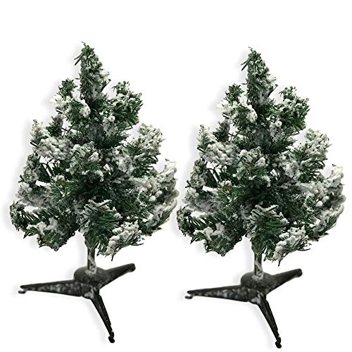 BANBERRY DESIGNS Mini Christmas Tree Decorations - Set of 2 Small White Frosted Flocked Tabletop Tree - 12