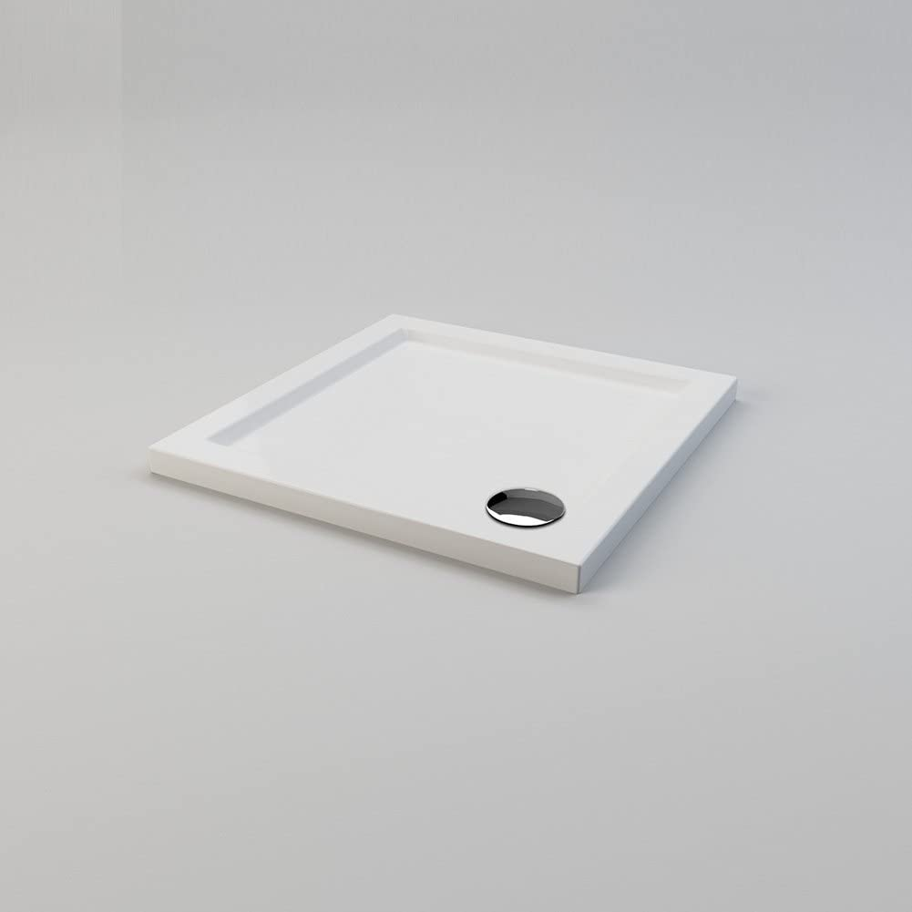 700 x 700 x 40 mm Square Stone Shower Tray with Waste Trap