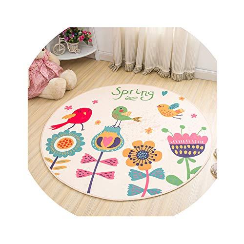 Cartoon Magic Circle Rabbit Printed Puzzle Mats Children Round Carpet Diameter 60-160cm Baby Play Mat Area Rug Anti-Slip,color5,Day 80cm