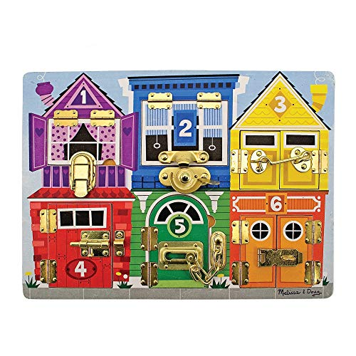 Melissa & Doug Wooden Latches Board (Developmental Toy, Sturdy Wooden Construction, Helps Develop Fine Motor Skills, Great Gift for Girls and Boys - Best for 3, 4, 5 Year Olds and Up) from Melissa & Doug