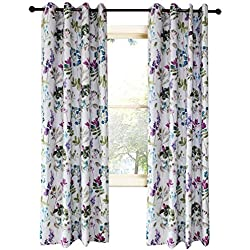 KoTing Blue/Purple Flower Curtain for Bedroom Colorful Leaf Blackout Insulate Thermal Drapes Grommet 42W by 84L Inch