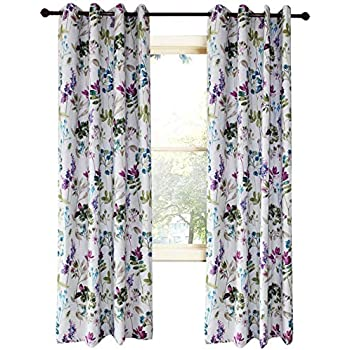 Anady top purple blue leaf curtains blackout - Blue and purple bedroom curtains ...