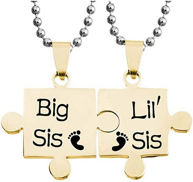 Black 2pcs Personalized Puzzle Sister Name Necklace Sliver Adjustable Chain Jewelry Thanksgiving Birthday Gifts Necklace for Sister