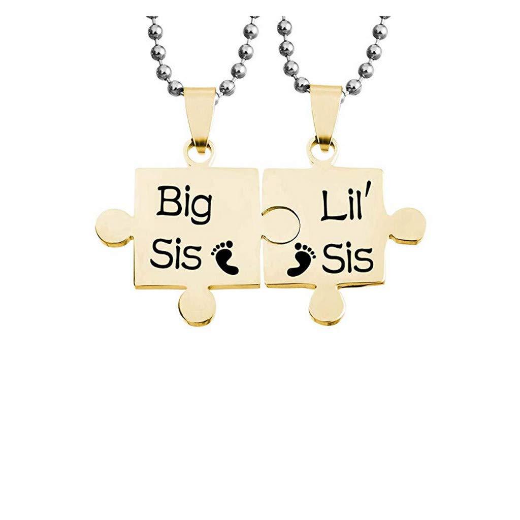 Silver 2-PC Heart Necklace,Wuwen Lil Sis Big Sis Pendant for Women Girls Sister Friend Choker Jewelry Set Black//Silver//Gold