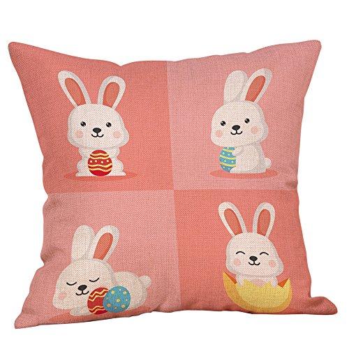 IAMUP Easter Cotton Square Rabbit Throw Pillow Case Waist Cushion Cover Home Cute -