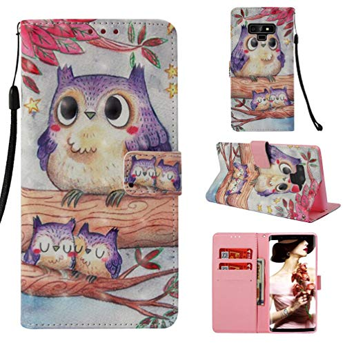 Case for Galaxy Note 9,Slim Flip 3D Printing [Kickstand] Credit Card Holder Pu-Leather Wallet Case Inner Soft Bumper [Shock Absorbent] with Wrist Strap Compatible with Samsung Galaxy Note 9 -Birds
