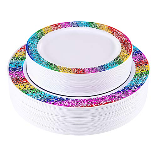 60 pcs Gold Plastic Plates, Disposable Lace Plates,Rainbow Plastic Plates, Birthday Party Plates Include 30 Dinner Plates, 30 Salad Plates(Enjoylife) (rainbow 60)
