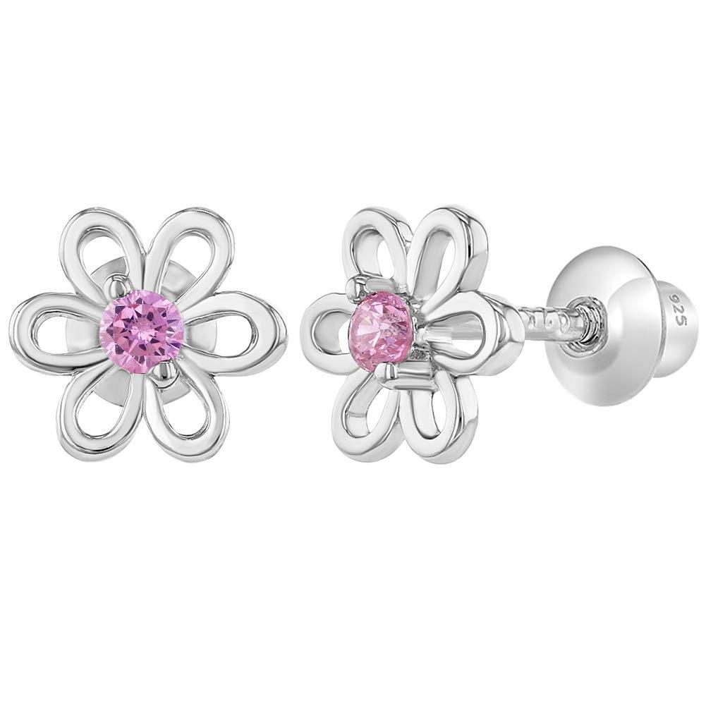 Argent sterling 925Rose CZ Fleur Boucles d'oreilles à vis pour filles tout-petits In Season Jewelry