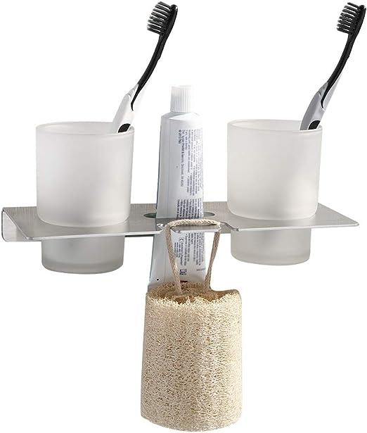 Stainless Steel 304 Bathroom Toothbrush Holder Two Cups Tumbler Brushed Nickel