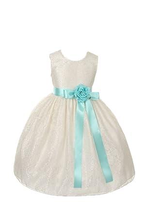0de6354f16bf Cinderella Couture Girls Elegant Ivory Lace Flower Girl Dress & Contrasting  Sash AQUA 2
