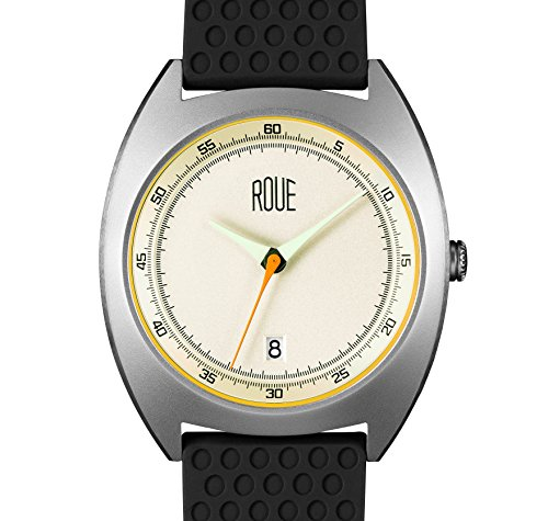 ROUE CAL One Watch, 1930s Racing Style, 41.5mm sand Blasted Stainless Steel case, Silicone + Nylon front/leather back, Sapphire Crystal with anti-reflective treatment - Mvmt Glasses