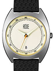 ROUE CAL One Watch, 1930s Racing Style, 41.5mm sand Blasted Stainless Steel case, Silicone + Nylon front/leather...