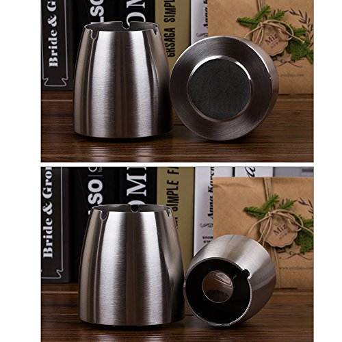 OILP Large Windproof Ashtray for Cigarettes Outdoor Ashtrays for Patio Beautiful Tabletop Smoke Stainless Steel Ashtray for Home/Office(Large,Silver)