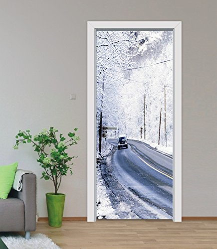 "3D Snow Trees 419 Door Wall Mural Photo Wall Sticker Decal Wall | Self-adhesive 3D Door Wall Mural , AJ WALLPAPER US Lemon (Vinyl (No Glue & Removable), 【81""x32""】205x82cm(HxW)) by AJ WALLPAPER"